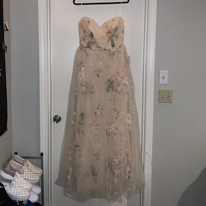 Lulu's Dresses - Beige Floral Strapless Maxi Dress